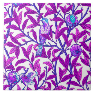 Art Nouveau Bird & Pomegranate, Amethyst  Purple Tile