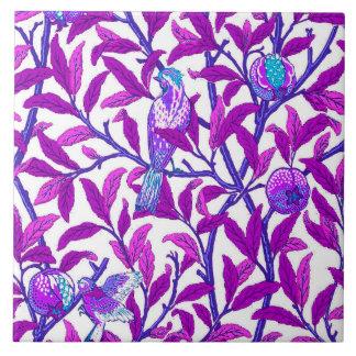 Art Nouveau Bird & Pomegranate, Amethyst  Purple Tile