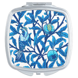 Art Nouveau Bird & Pomegranate, Cobalt Blue Mirror For Makeup