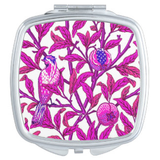 Art Nouveau Bird & Pomegranate, Fuchsia Pink Travel Mirror