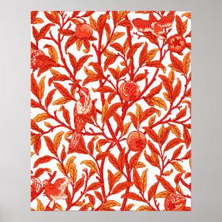 Art Nouveau Bird & Pomegranate, Mandarin Orange Poster