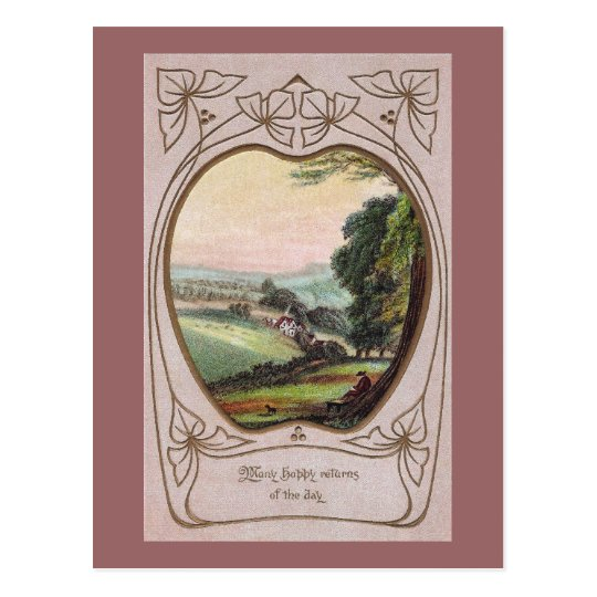 Art Nouveau Birthday Valley Vignette Postcard