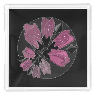 Art nouveau black and dusty pink floral print