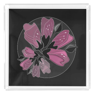 Art nouveau black and dusty pink floral print acrylic tray