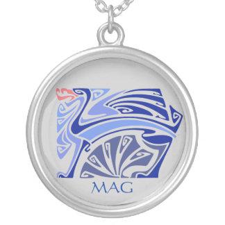 Art nouveau blue dragon with monogram custom necklace