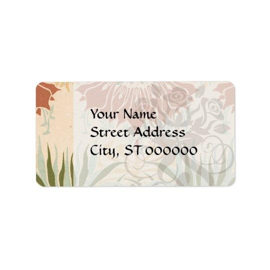 art nouveau bold floral decorative pattern address label