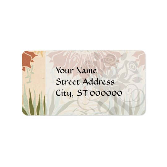 art nouveau bold floral decorative pattern label