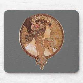 Art Nouveau - Byzantine Head, The Brunette Mouse Pad