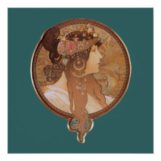Art Nouveau - Byzantine Head, The Brunette Poster