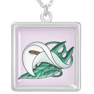 Art Nouveau Calla Lily Silver Plated Necklace