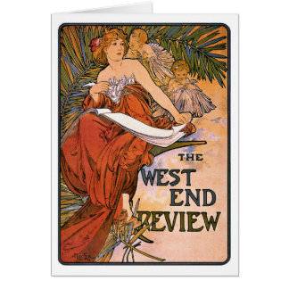 Art Nouveau Card: - Mucha - West End Review Greeting Card
