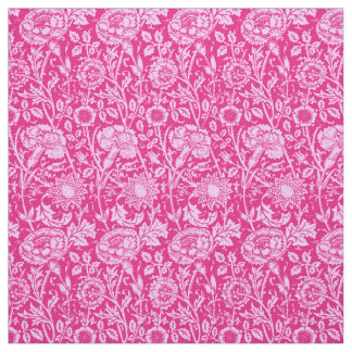 Art Nouveau Carnation Damask, Fuchsia Pink Fabric