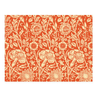 Art Nouveau Carnation Damask, Mandarin Orange Postcard
