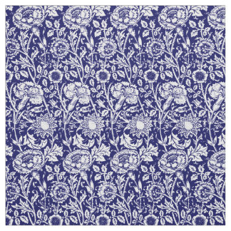 Art Nouveau Carnation Damask, Navy and White Fabric