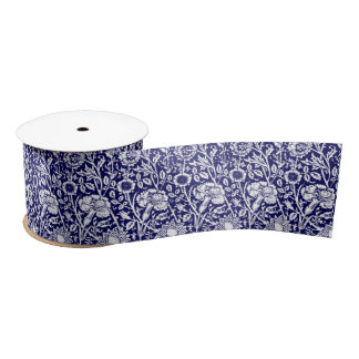 Art Nouveau Carnation Damask, Navy and White Satin Ribbon