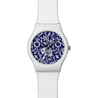 Art Nouveau Carnation Damask, Navy and White Wristwatch