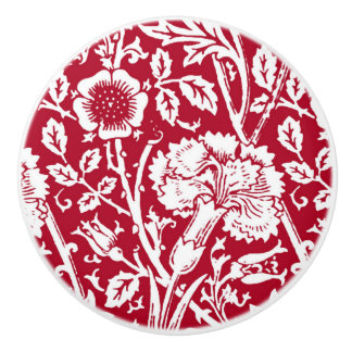 Art Nouveau Carnation Damask, Red and White Ceramic Knob