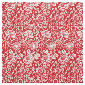 Art Nouveau Carnation Damask, Red and White Fabric
