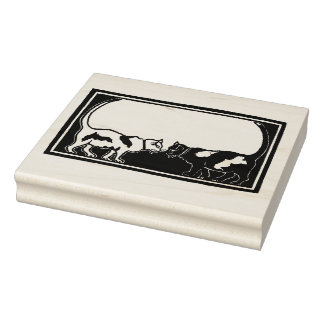 Art Nouveau Cats Rubber Stamp