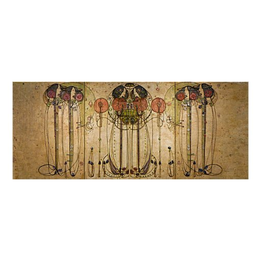 Art Nouveau Charles Mackintosh The Wassail Poster