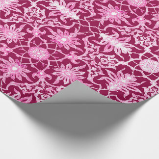 Art Nouveau Chinese Pattern - Burgundy Wine Wrapping Paper