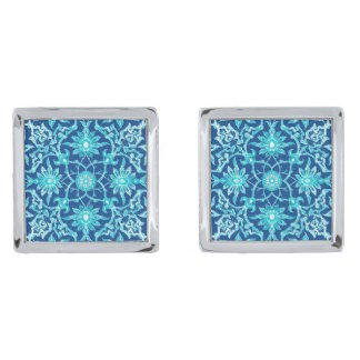 Art Nouveau Chinese Pattern - Turquoise and Blue Silver Finish Cufflinks