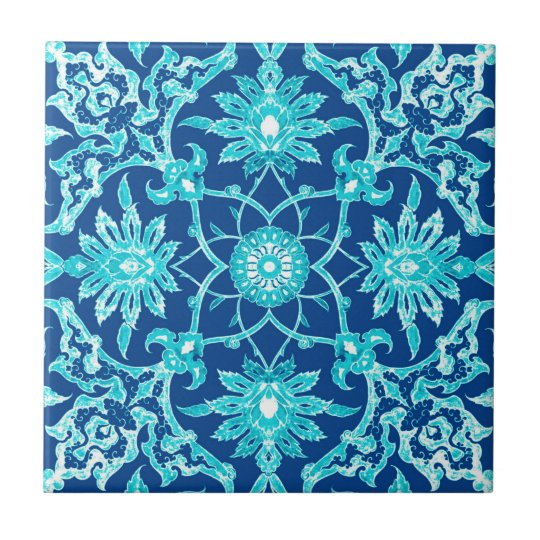 Art Nouveau Chinese Pattern - Turquoise and Blue