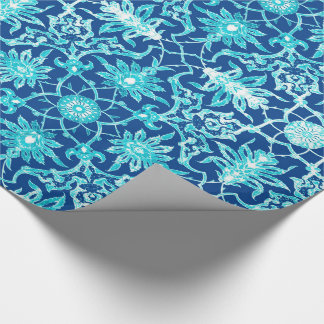 Art Nouveau Chinese Pattern - Turquoise and Blue Wrapping Paper