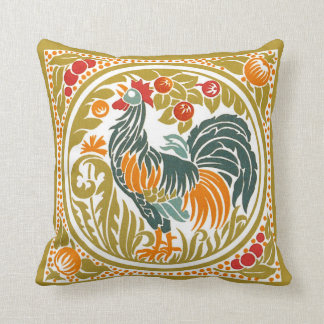 Art Nouveau Chinese Rooster Design Pillow