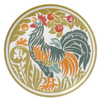 Art Nouveau Chinese Rooster Melamine Plate