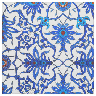 Art Nouveau Chinese Tile - Cobalt Blue & White Fabric
