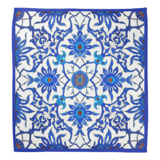 Art Nouveau Chinese Tile - Cobalt Blue & White Head Kerchief