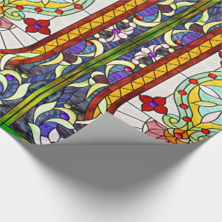 Art Nouveau Colorful Tiffany Stained Glass Window Wrapping Paper