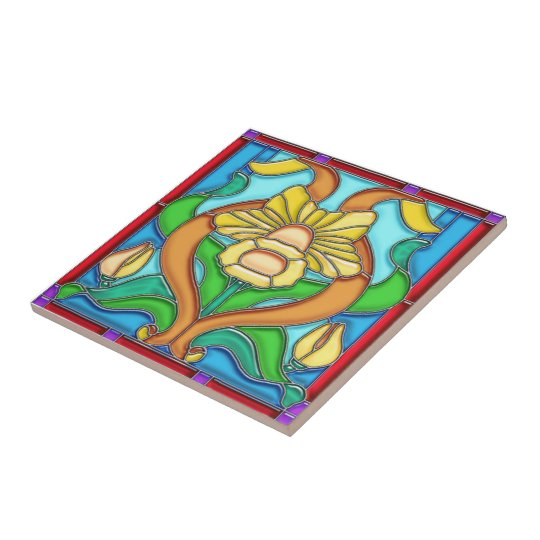 Art Nouveau Daffodil Stained Glass Tile