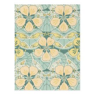 art nouveau dainty vintage floral pattern postcard