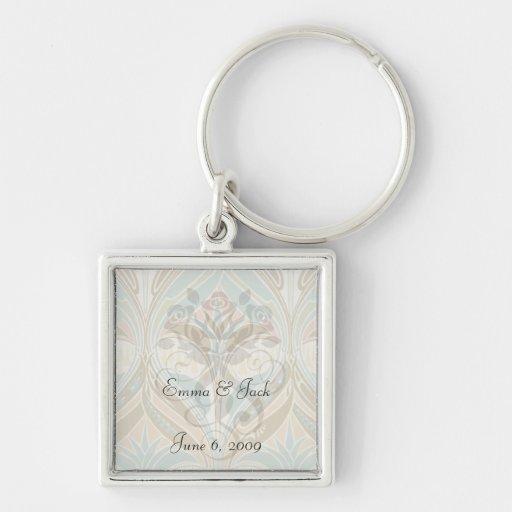 art nouveau decorative bliss pattern Silver-Colored square key ring