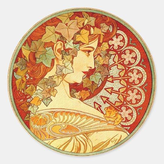 Art Nouveau design Classic Round Sticker