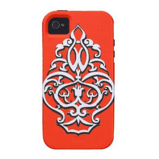 Art nouveau design element over Tangerine Tango iPhone 4 Cover