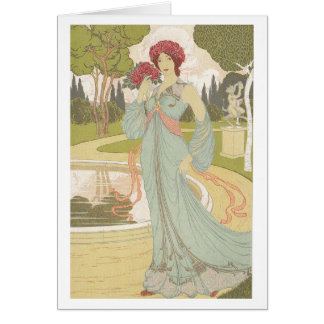 Art Nouveau design - Girl with Roses Card