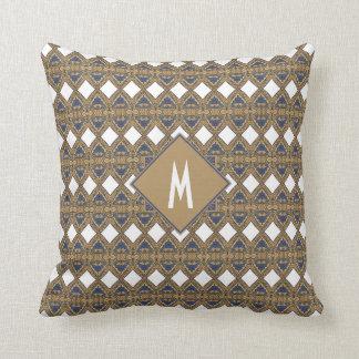 Art Nouveau Diamonds Pattern Blue Gold Monogram Cushion