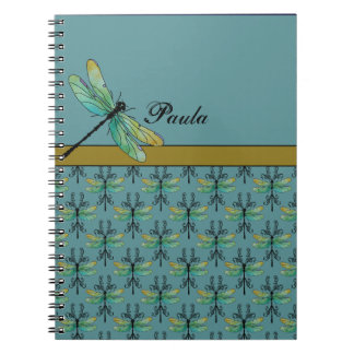 Art Nouveau Dragonfly on Teal Notebooks