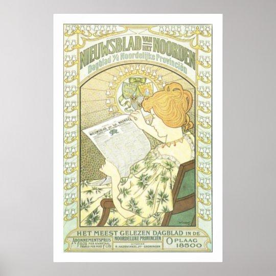 Art Nouveau Dutch Newspaper ad Poster