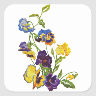 Art Nouveau Embroidered Pansies Square Sticker