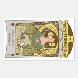 Art Nouveau Ex Libris bookplate, hand colored Rectangular Sticker