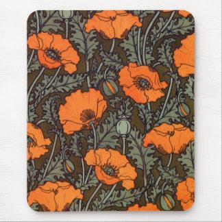 Art Nouveau 'Field Poppies' Mouse Pad
