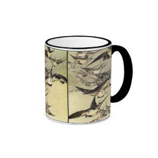 Art Nouveau ~ Flock of Birds - 1925Mug Ringer Mug