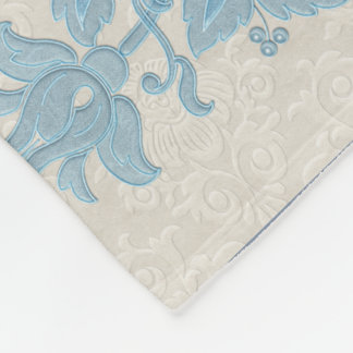 Art Nouveau Floral Borders Fleece Blanket