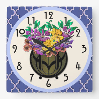 Art Nouveau Floral Bouquet and French Blue Tile Square Wall Clock