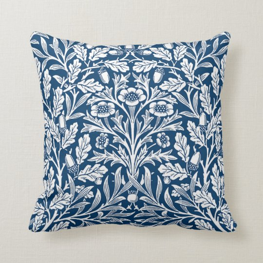 Art Nouveau Floral Damask, Cobalt Blue and White
