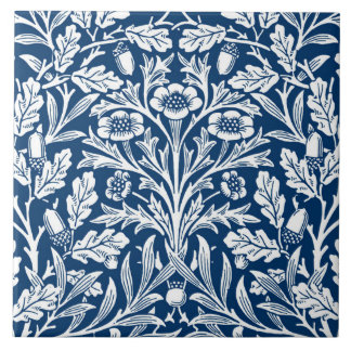 Art Nouveau Floral Damask, Cobalt Blue and White Large Square Tile